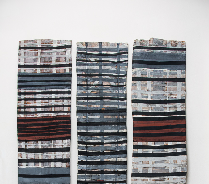 Objekt, o.T., 1989, 210x180x05 cm, Stoff, Holz, Farbe