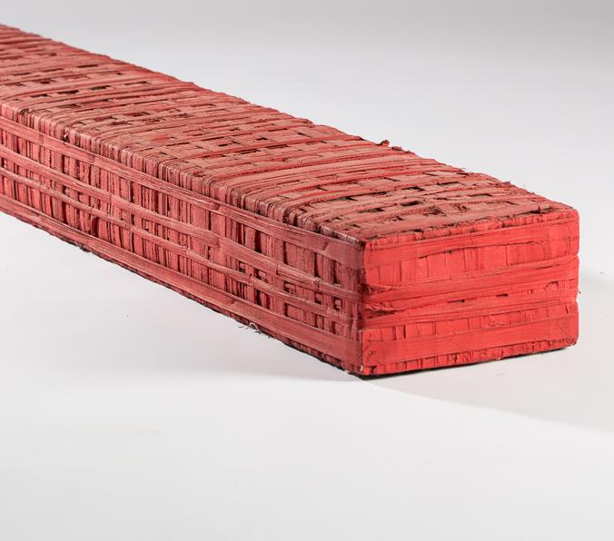 Objekt, o.T., 1992, 18x22x177 cm, Stoff, Holz, Farbe