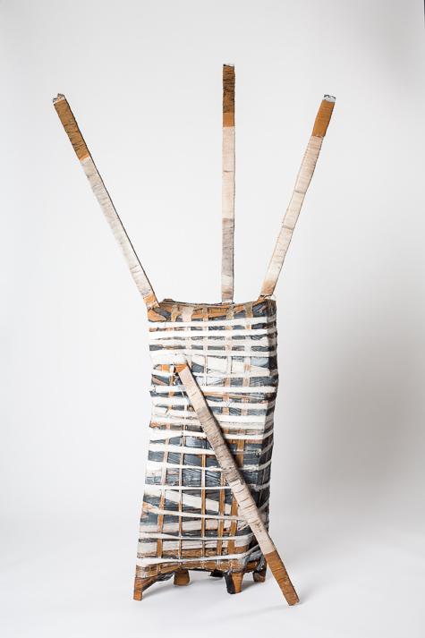 Objekt, o.T., 1988, 220x61x37 cm, Stoff, Holz, Farbe