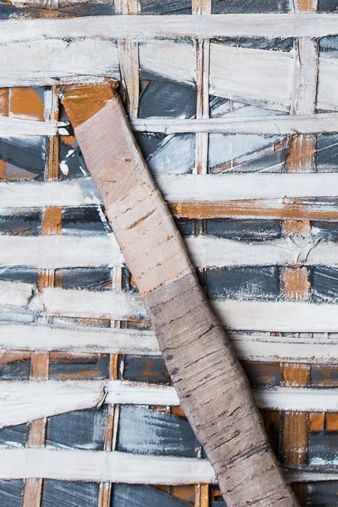 Objekt, o.T., 1988, 220x61x37 cm, Stoff, Holz, Farbe (Detail)