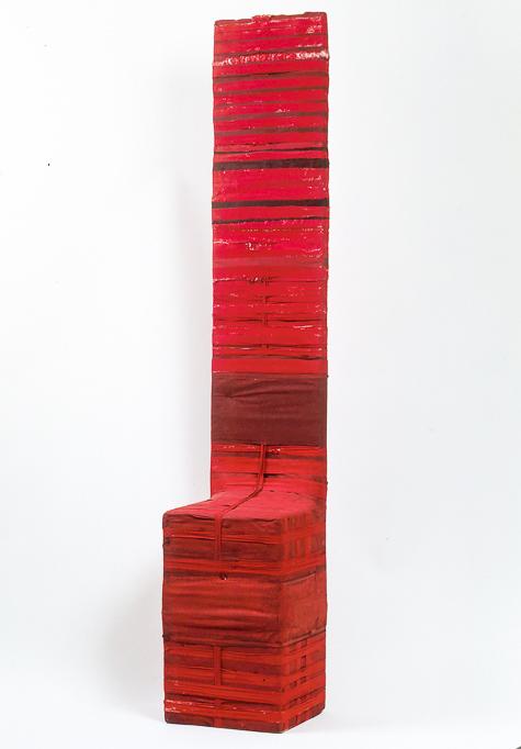 Objekt, o.T., o.T., 1991, 171x32x27 cm, Stoff, Holz, Farbe
