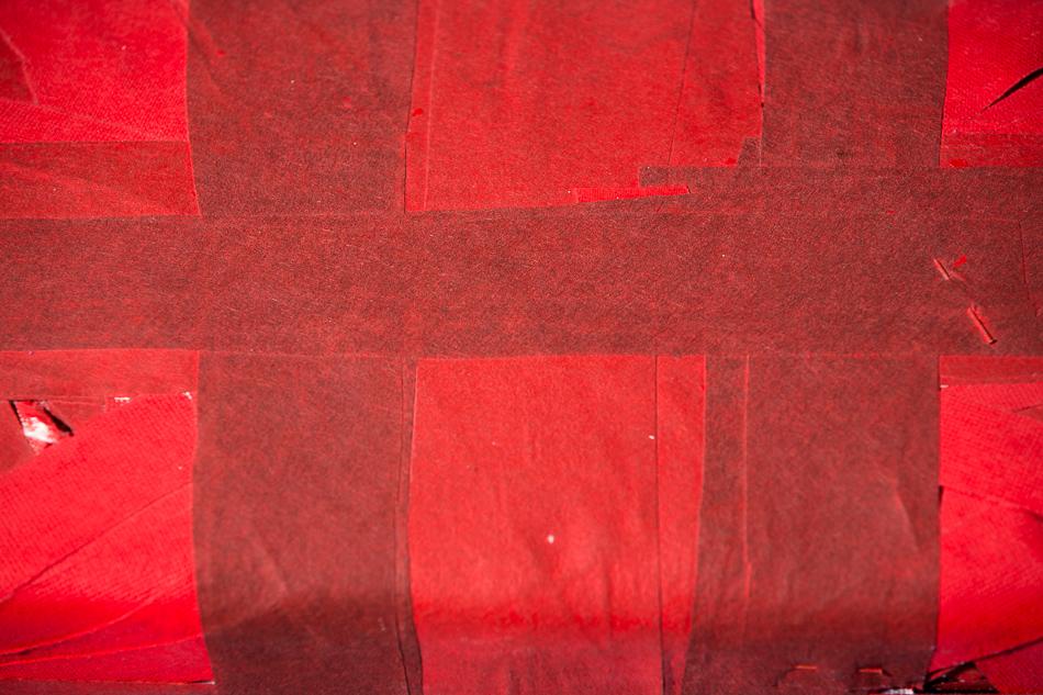 Objekt, o.T., 1991, 15x28x17 cm, Stoff, Holz, Farbe (Detail)