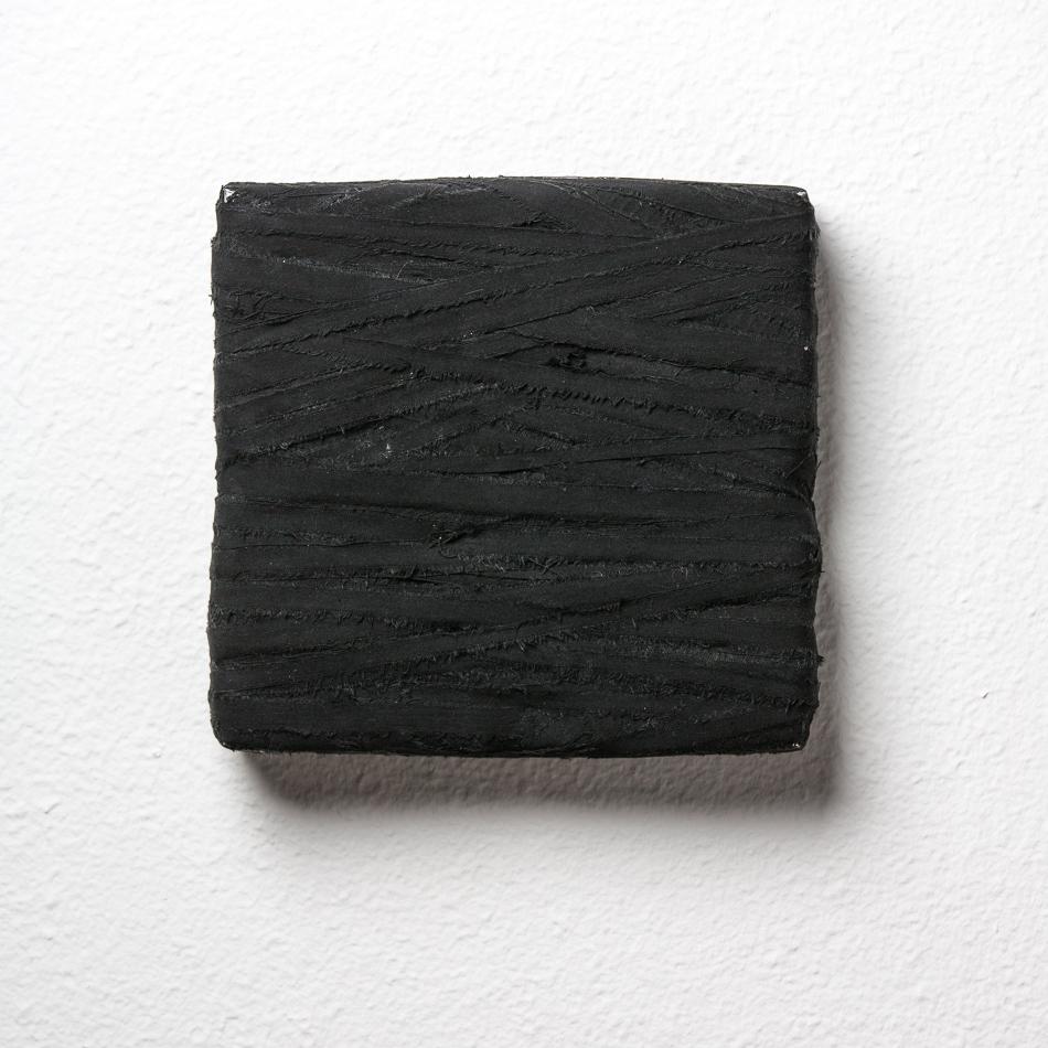 Objekt, o.T., 2019, 22x22x04 cm, Stoff, Karton